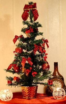 Елка большая 60 см украшенная Красная 0456 R, фото 2