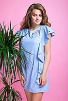 Элегантное Короткое Платье с Воланами и Стразами Голубое XS-XL, фото 1