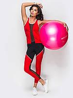Женский фитнес костюм майка + лосины красного и черного цвета