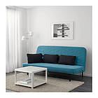 Трехместный раскладной диван IKEA NYHAMN с пенным матрасом и 3 подушками Borred зелено-синий 292.476.71, фото 2
