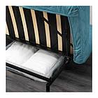 Трехместный раскладной диван IKEA NYHAMN с пенным матрасом и 3 подушками Borred зелено-синий 292.476.71, фото 3
