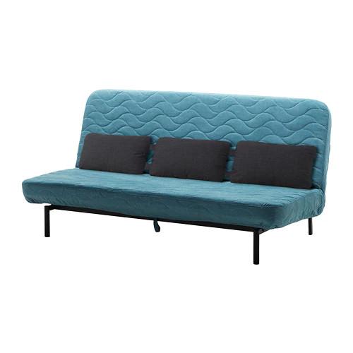 Трехместный раскладной диван IKEA NYHAMN с пенным матрасом и 3 подушками Borred зелено-синий 292.476.71