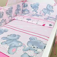 """Комплект постельного белья  в кроватку  """"Ведмедик""""  6ед.(Защита на всю кроватку, 4 части)"""