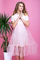 Нежное Платье с Пышной Юбкой Сеткой Пудровое XS-XL, фото 1