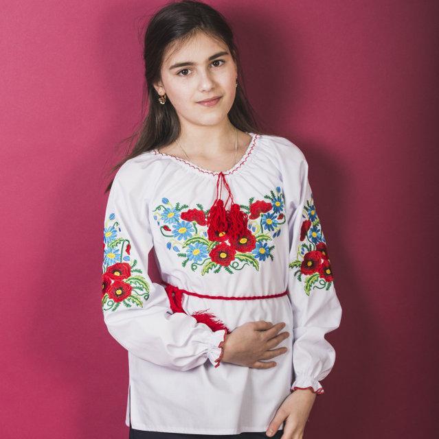 Нежная блузка вышиванка для девочки Мак - Ромашка 2 116-140 см