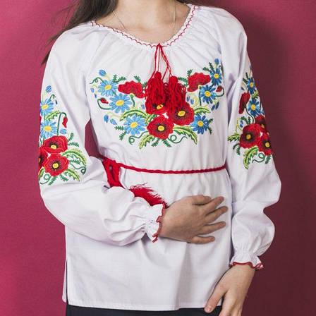 Нежная блузка вышиванка для девочки Мак - Ромашка 2 116-140 см, фото 2