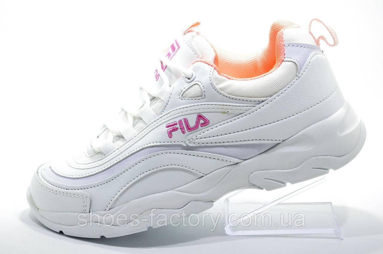 Женские белые кроссовки в стиле Fila Ray, White\Pink