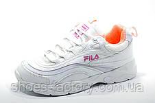 Женские белые кроссовки в стиле Fila Ray, White\Pink, фото 2