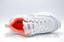 Женские белые кроссовки в стиле Fila Ray, White\Pink, фото 3