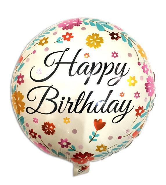 Фольгированный шар Happy birthday кремовый с цветочками