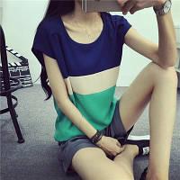 Блуза женская с короткими рукавами / Футболка шифоновая трехцветная S, L, XL, фото 1