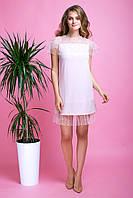 Праздничное Легкое Платье с Сеткой и Жемчугом Пудровое XS-XL, фото 1