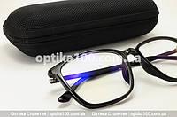 Компьютерные очки со стеклянными линзами. Черная оправа