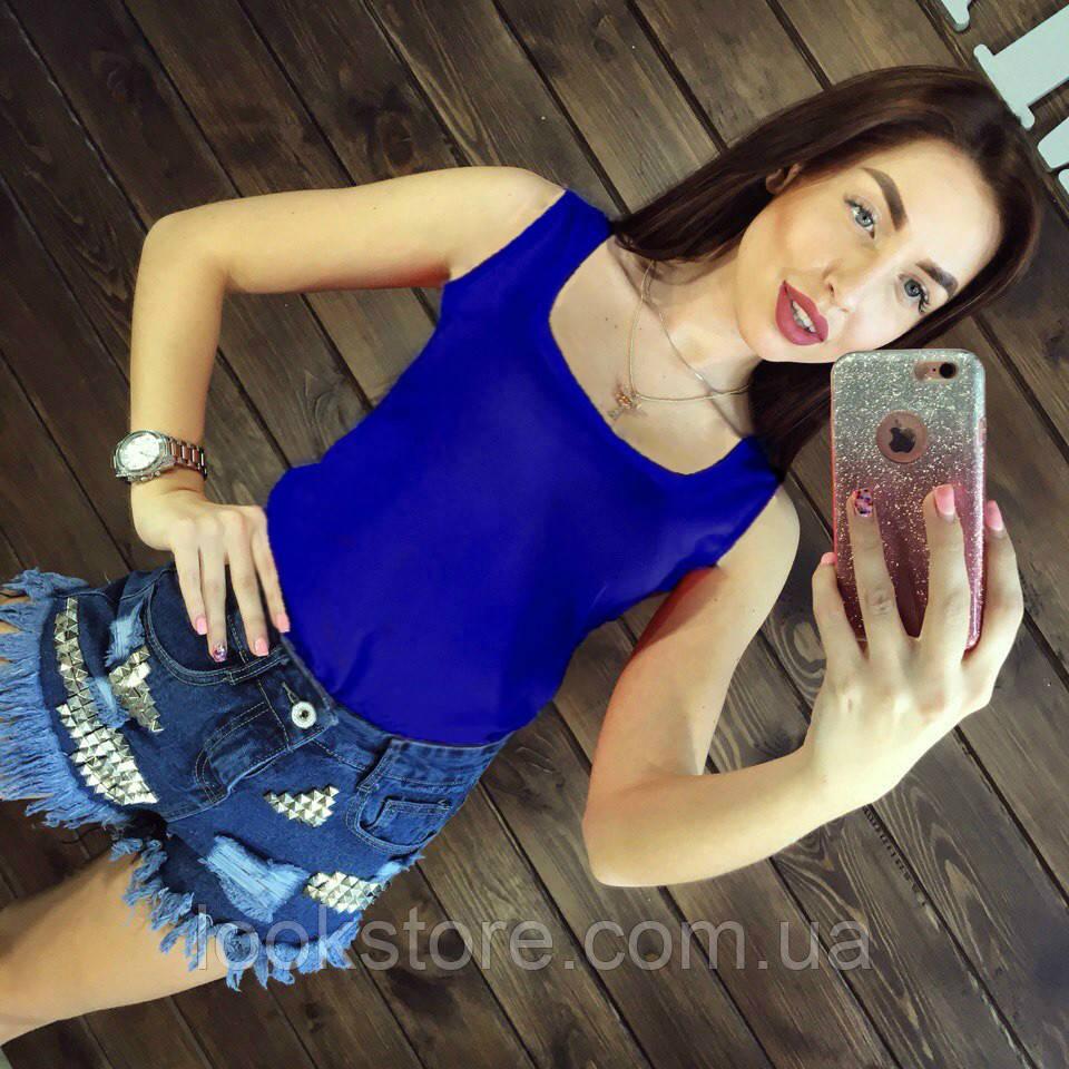Блуза женская без рукавов / Майка шифоновая синяя S, M