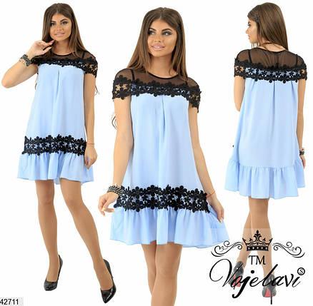 Красивое платье на лето свободное короткое с кружевами шелк голубое, фото 2