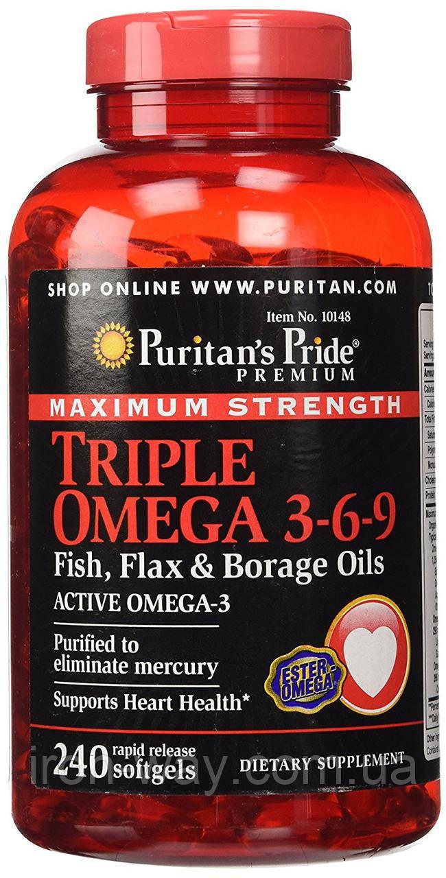 Puritan's Pride Triple Omega 3-6-9 Fish, Flax & Borage Oils 240 softgels