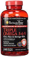 Puritan's Pride Triple Omega 3-6-9 Fish, Flax & Borage Oils 240 softgels, фото 1