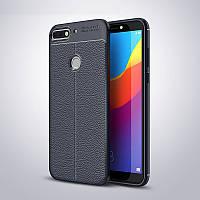Чехол Huawei Y7 2018 / Y7 Prime 2018 / Honor 7C / Honor 7C Pro силикон Original Auto Focus Soft Touch синий