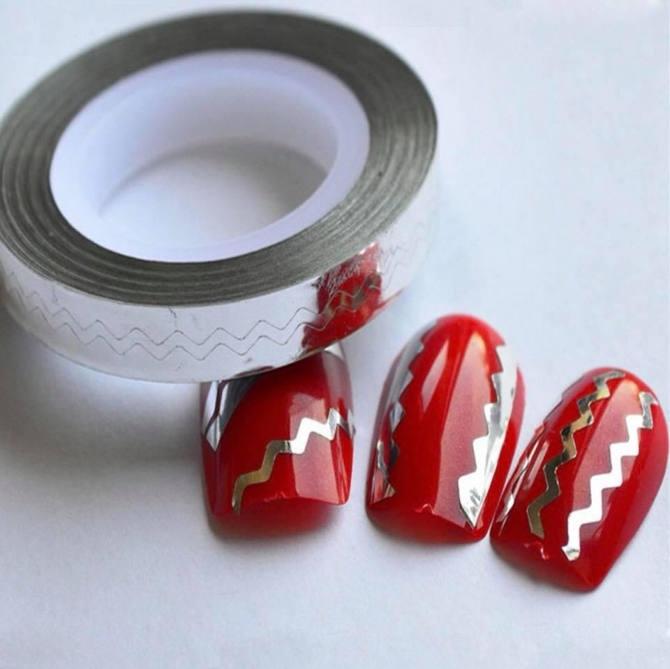Лента-трафарет для ногтей в рулоне STZ 5 мм серебро