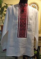 """Чоловіча сорочка-вишиванка """"Візерунок червоний"""", на білому льоні, розмір 50-52"""