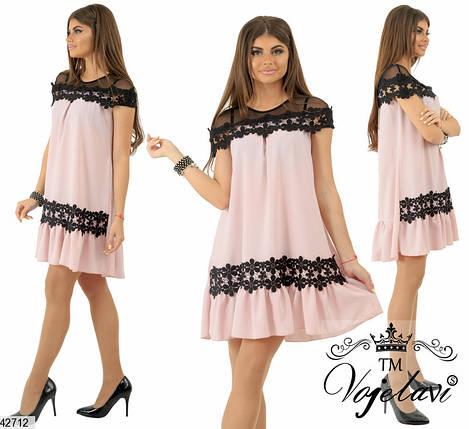 Легкое летнее платье выше колен свободного кроя кружево макраме шелк рукав короткий бежевое, фото 2