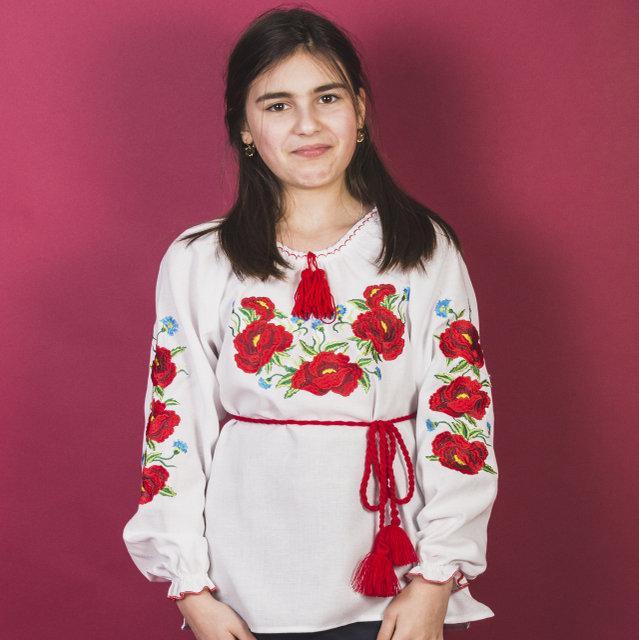 Вышиваночка детская для девочек Ангелина 116-140 см. (домотканое полотно)