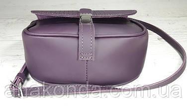 173-2 Сумка женская из натуральной кожи фиолетовая сумка кросс-боди баклажан кожаная сумка женская через плечо, фото 3