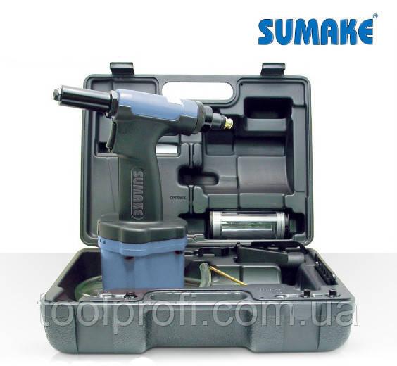 Пневмогидравлический заклепочник с комплектом приспособлений 2.4 - 6.4 мм (Sumake ST-66154K)