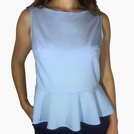 Женская блузка с баской голубая, фото 2