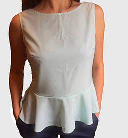 Женская блузка с баской светлая мята