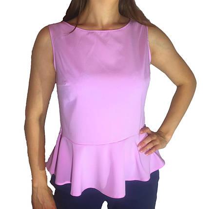 Женская блузка с баской розовая, фото 2