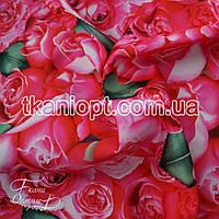 Ткань Атлас прокатный принтованный (розовые розы)