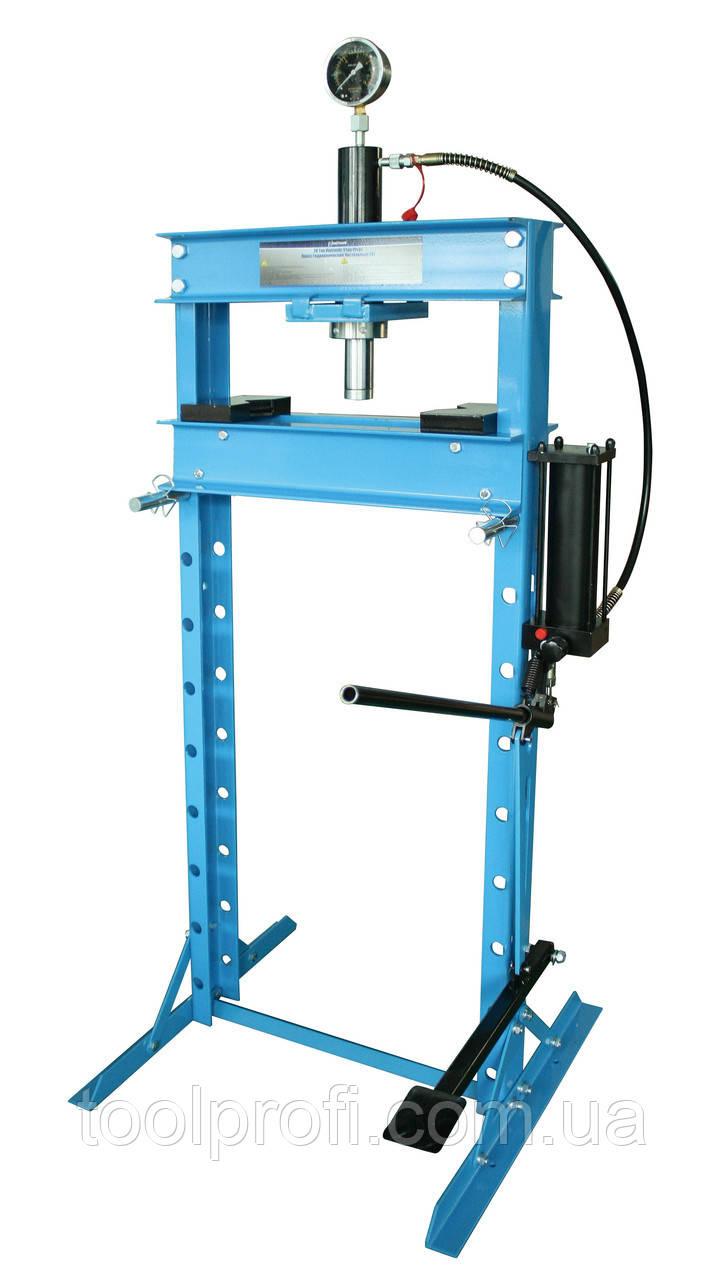 Пресс гидравлический 20 т высокий с насосом и гидропоршнем с манометром (ход 185 мм)