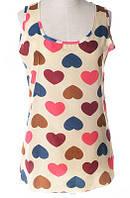 Блуза женская без рукавов / Майка шифоновая с сердечками бежевая XL, XXL, XXXL