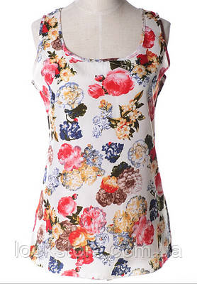 Блуза женская без рукавов / Майка шифоновая с цветами белая L , XL, XXXL