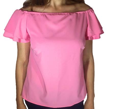 Жіноча блузка з воланом на рукаві рожева, фото 2