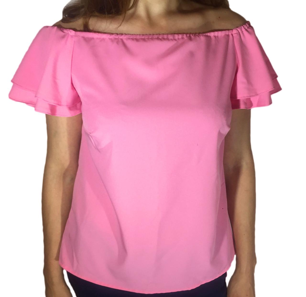Женская блузка с воланом на рукаве розовая