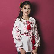 Детская блузка с красной вышивкой Орнамент р. 146-164 см.