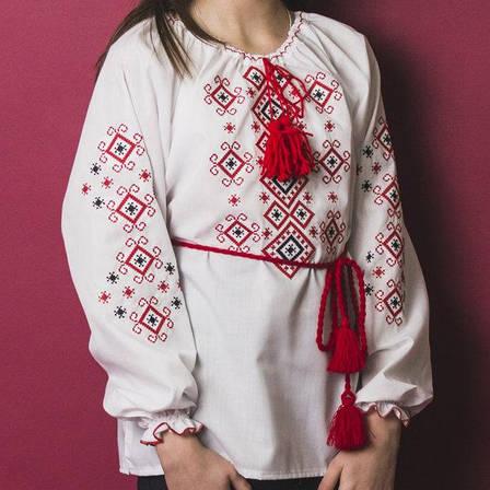 Детская блузка с красной вышивкой Орнамент р. 146-164 см. (домотканое полотно), фото 2