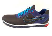Кроссовки мужские Nike кожаные черные красная/синяя/желтая отделка Ni0031