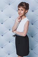 Кофта для девочки с рукавом сетка белая, фото 1