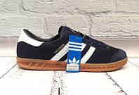 Кроссовки мужские Adidas Humburg замшевые+сетка синие/черные AD0036