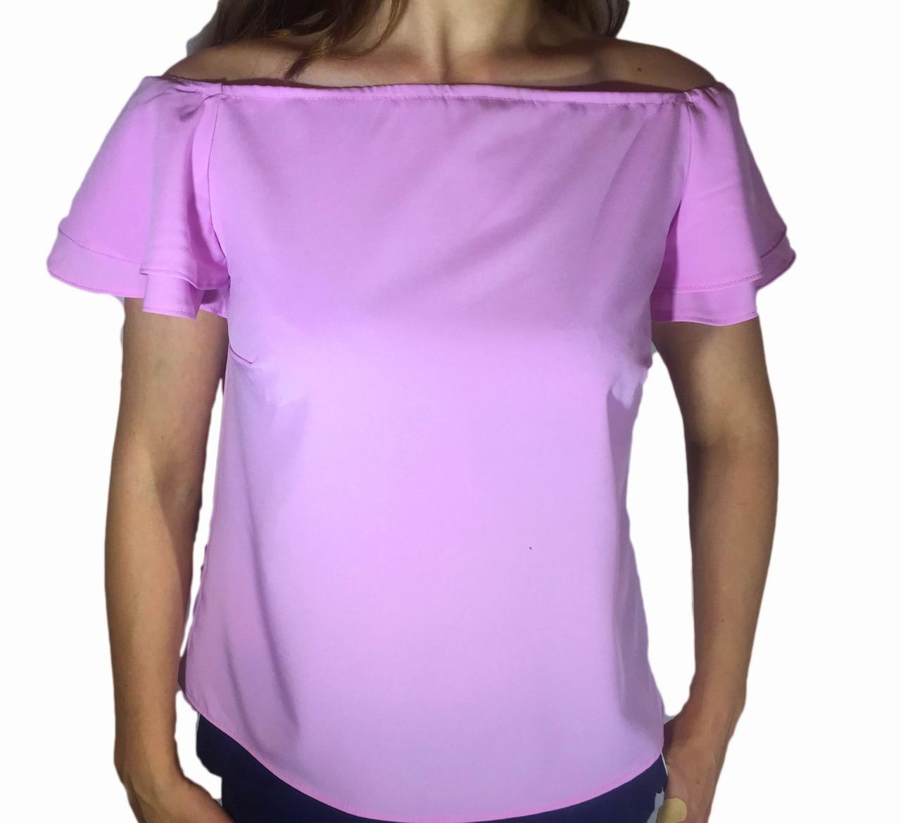 Женская блузка с воланом на рукаве сиреневая