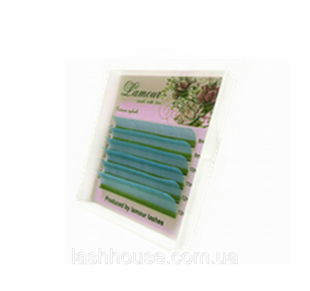 Ресницы цветные бирюзовые (6 линий)