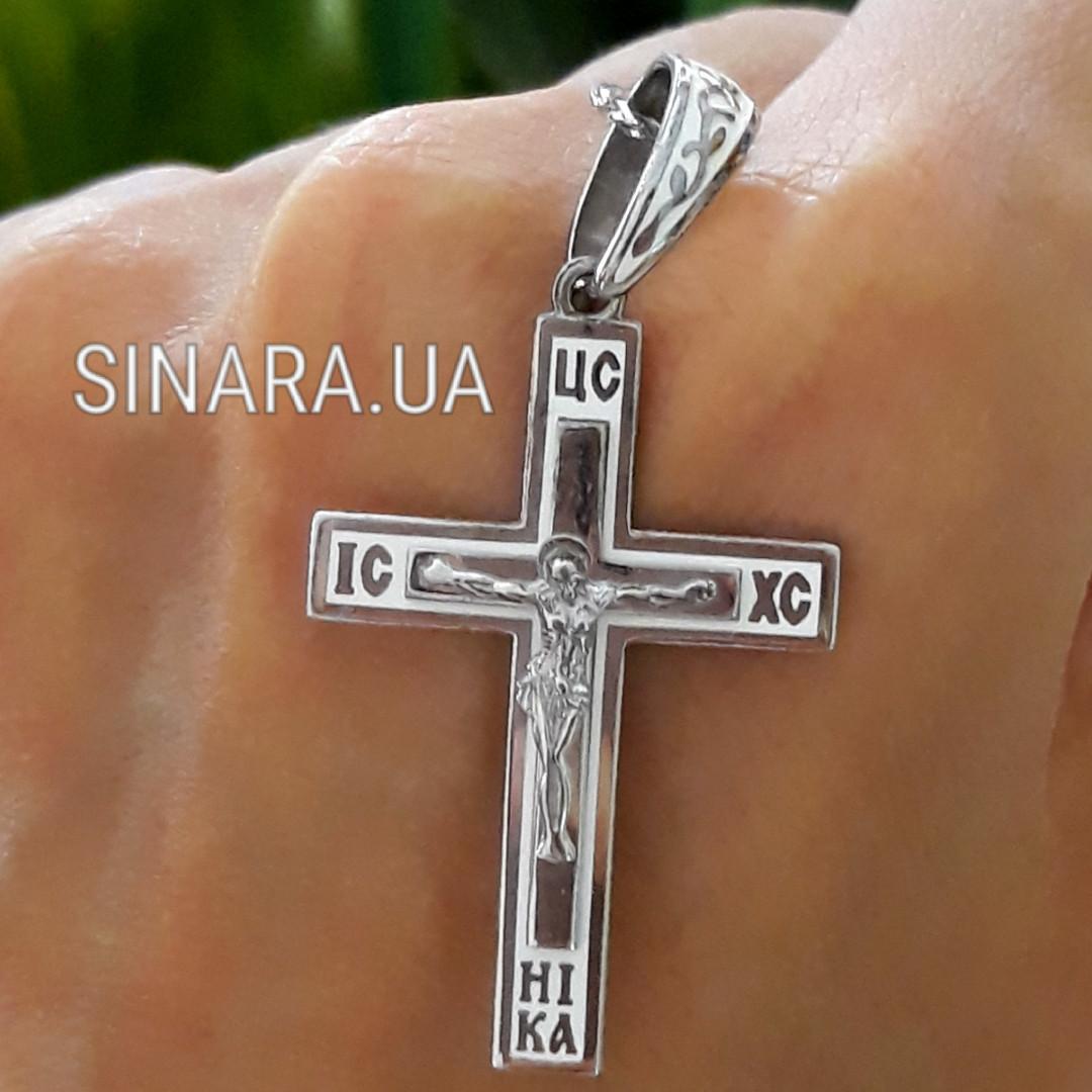 Серебряный Крестик с эмалью и распятием - Крестик с эмалью серебро