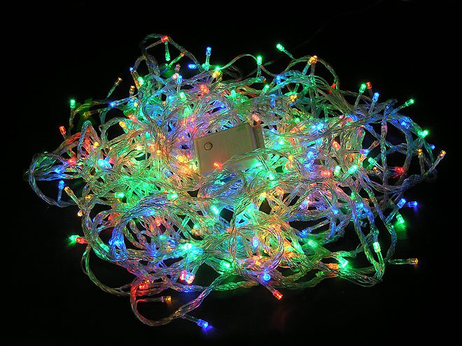 Гирлянда электрическая (прозрачный шнур), 100 лампочек