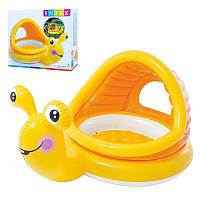 Детский надувной бассейн с навесом Улитка Intex 57124: размер 145х102х44см