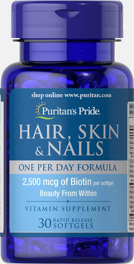 Puritan's PrideHair, Skin & Nails One Per Day Formula 30 softgels