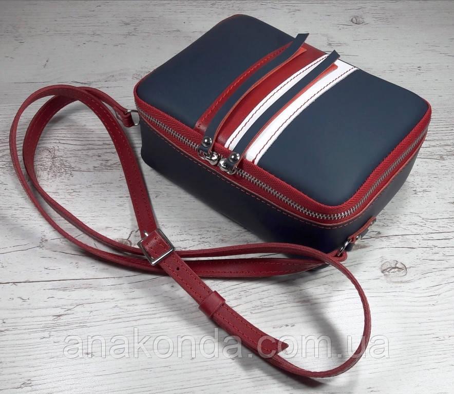 64-к Натуральная кожа, Сумка женская кросс-боди, синяя, красная комби в цветахTommy Hilfiger