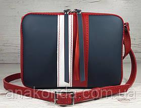 64-к Натуральная кожа, Сумка женская кросс-боди, синяя, красная комби в цветахTommy Hilfiger, фото 2